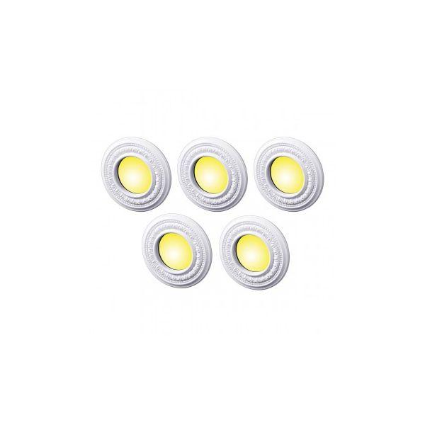 "5 Spot Light Ring White Trim 4"" ID x 8"" OD Mini Medallion Set of 5"
