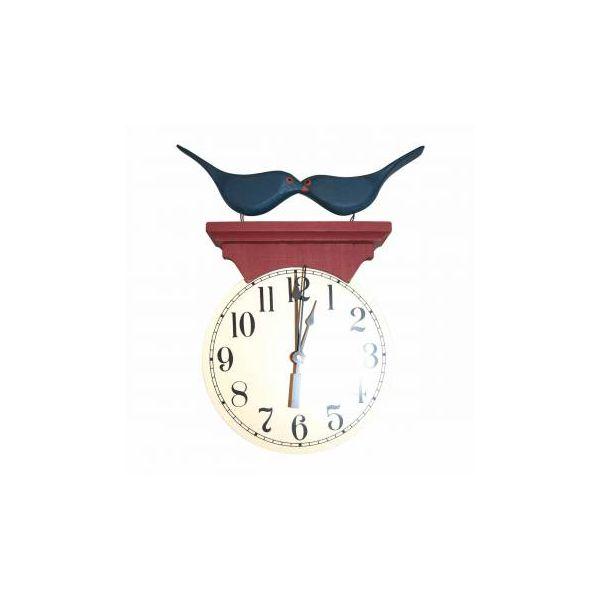 Bluebird Clock Blue/Red Wood