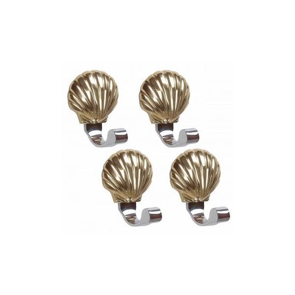 4 Traditional Robe Hook Bright Solid Brass Sea Crest