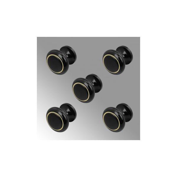 Solid Brass Cabinet Knobs Black Enamel Coated Set of 5