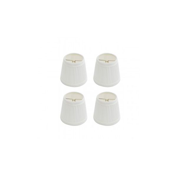 """Lamp Shade White Fabric 4 1/16"""" Mini Clip On  4 Pack"""