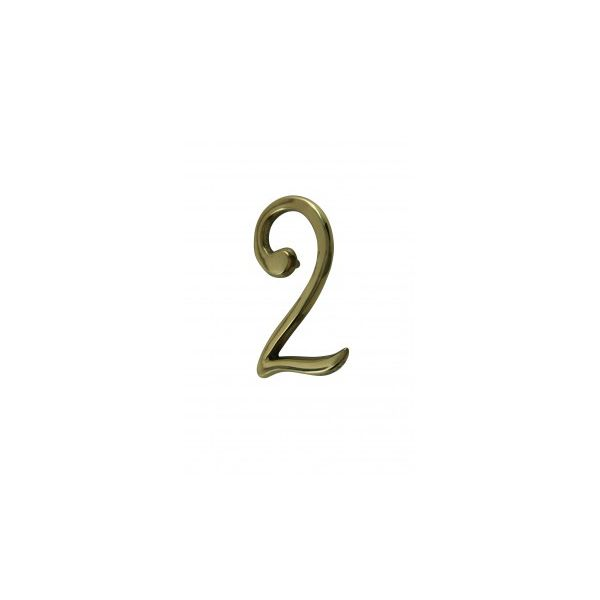 """Bright Solid Brass 3"""" Address House Number '2' Pin Mount"""