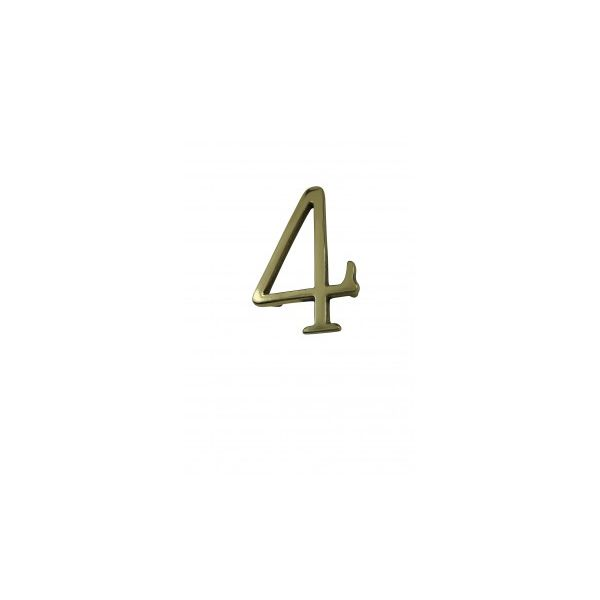 """Bright Solid Brass 3"""" Address House Number '4' Pin Mount"""