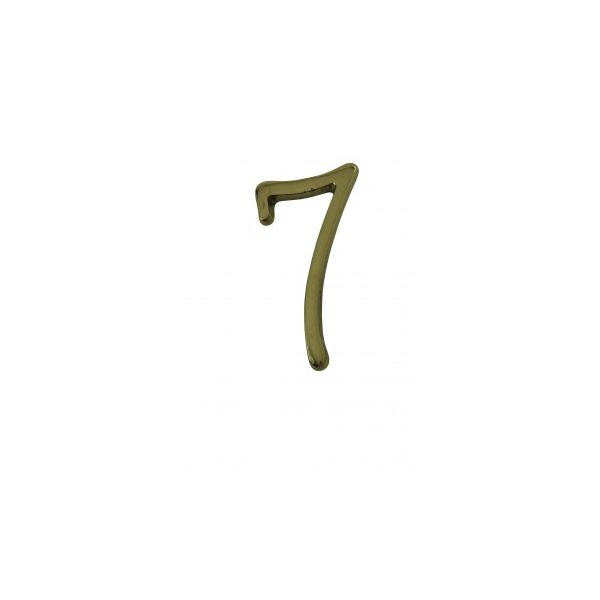 """Bright Solid Brass 3"""" Address House Number '7' Pin Mount"""
