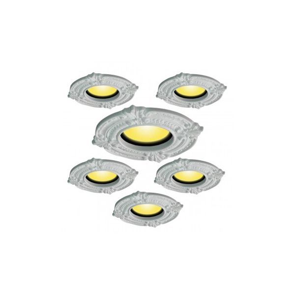 Recessed Urethane Ceiling Medallion Trim White 6 inches ID x 10 inches OD 6 pack