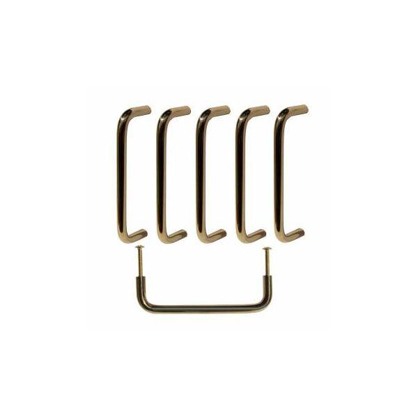 6 Cabinet Pulls Bright Solid Brass Plain