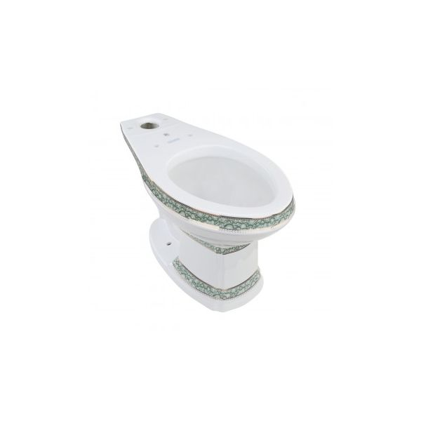 White Porcelain Elongated Bathroom Toilet Bowl Green and Gold India Reserve Design Renovators Supply Manufacturing