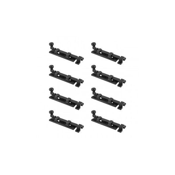 "Black Wrought Iron  Cabinet or Door Slide Bolt 4"" W Pack of 8"