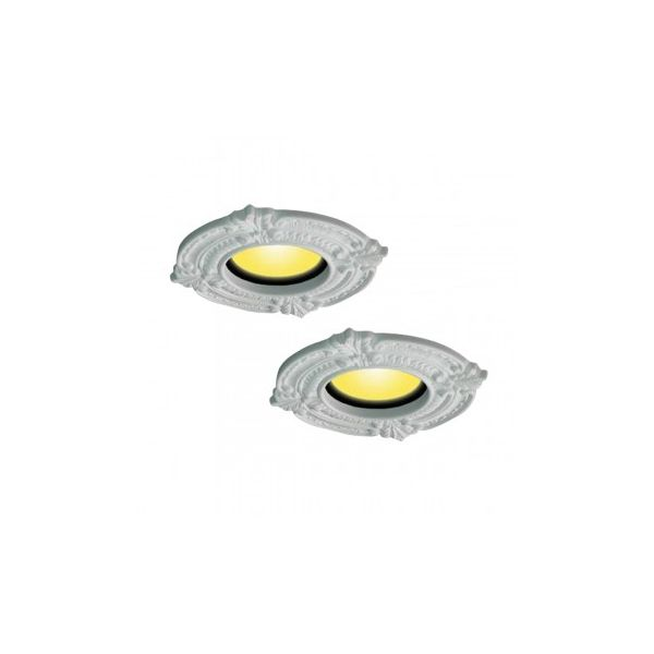 """Recessed Urethane Ceiling Medallion Trim White 6"""" ID x 10"""" OD Pack of 2"""