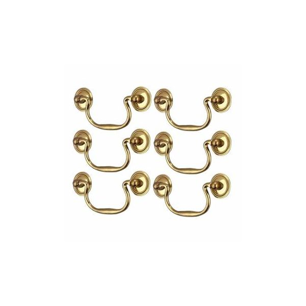 """Cabinet Bail Pulls Bright Solid Brass 3-3/4"""" Set of 6"""