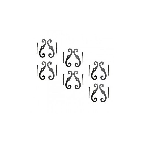"Black Aluminum Scroll Shutter Dog 6-1/2"" 6 pairs"