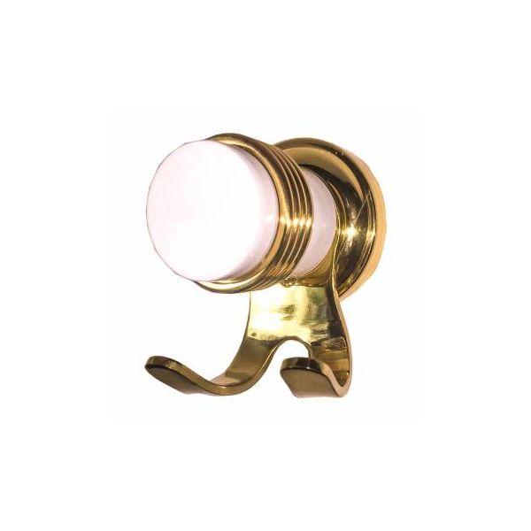 Victorian Bathroom Robe Hook White Porcelain Spectrum Brass