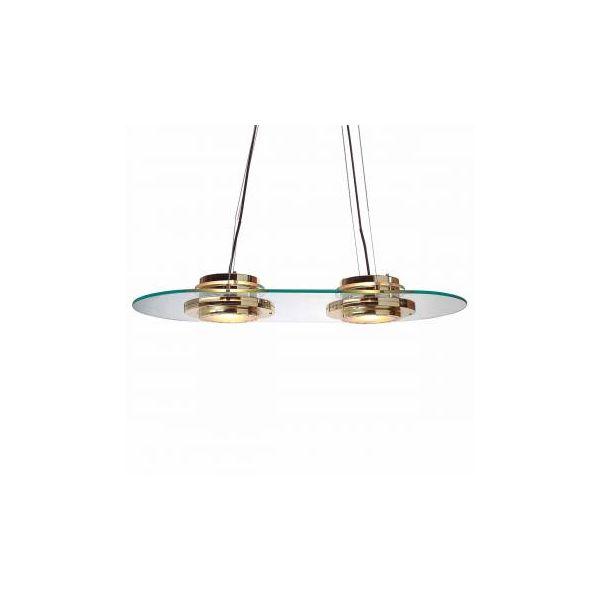 Halogen Ceiling Glass Pendant 2 Lights Bright Brass