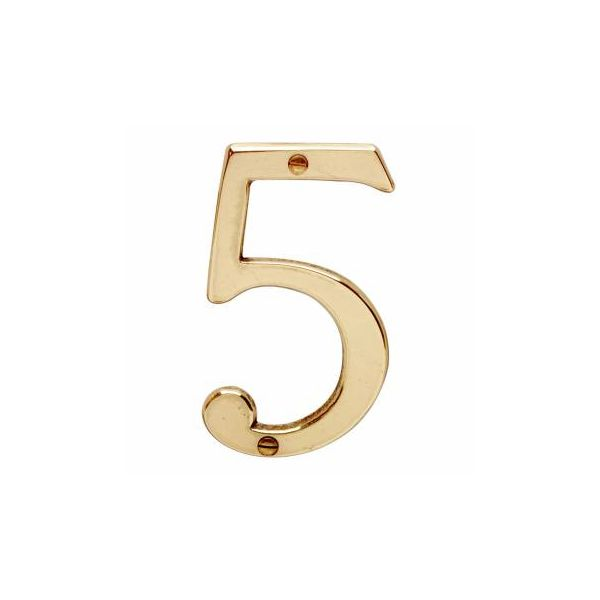 """Bright Solid Brass 3 7/8"""" Address House Number '5'   Renovator Supply"""