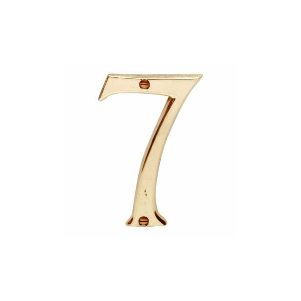"""Bright Solid Brass 3 7/8"""" Address House Number '7'"""