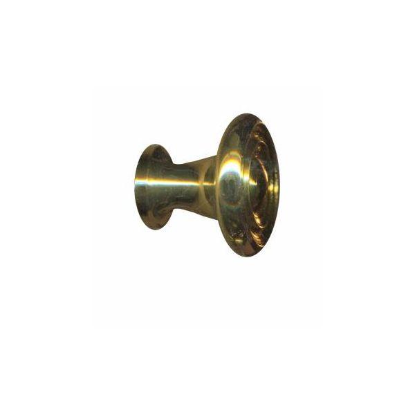 "Cabinet Knob Bright Solid Brass Spooled 1"" Dia"