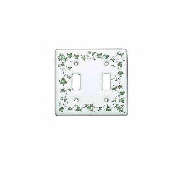 25 Vintage Switch Plate White Porcelain Ivy Double Toggle