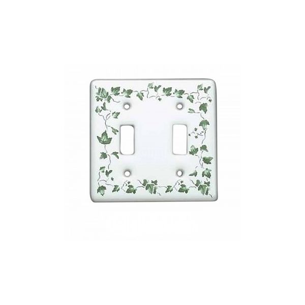 100 Vintage Switch Plate White Porcelain Ivy Double Toggle