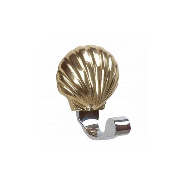 Traditional Robe Hook Bright Solid Brass Sea Crest