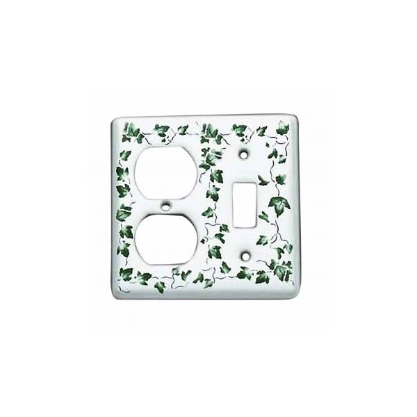 Switch Plate White Porcelain Ivy Toggle/Outlet Switch