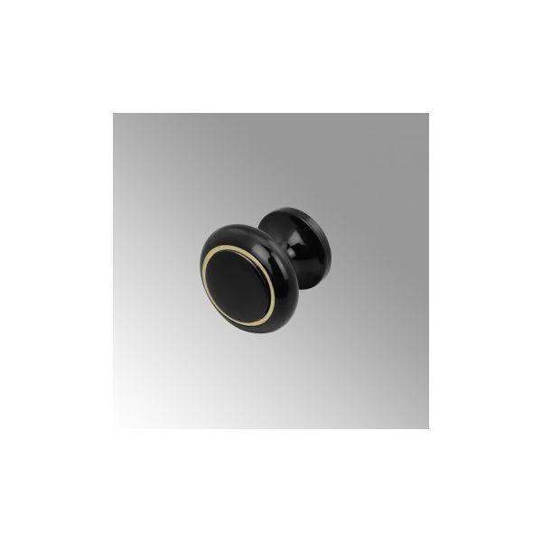 Cabinet Knob Black Solid Brass Enamel