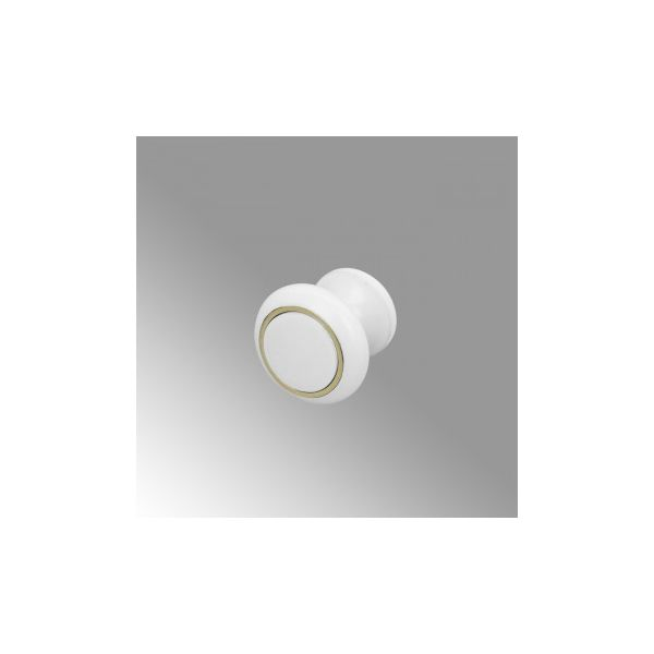 Cabinet Knobs White Solid Brass Ball 1 Inch