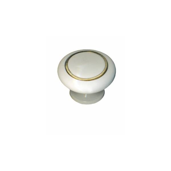 Cabinet Knobs White Solid Brass Enamel 1 1/4 Inch