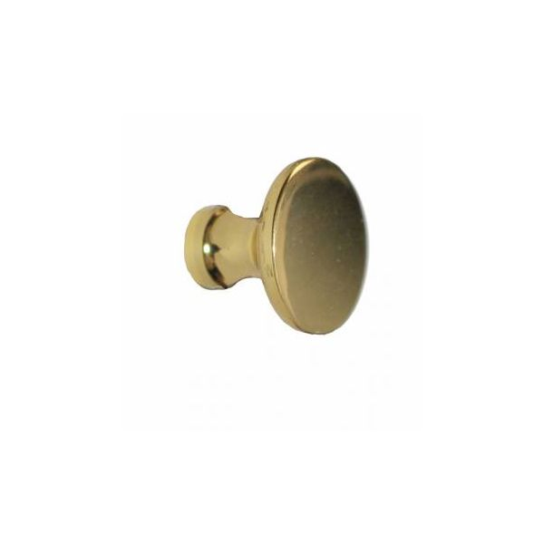 """Cabinet Knob Bright Solid Brass Traditional 1"""" Dia"""