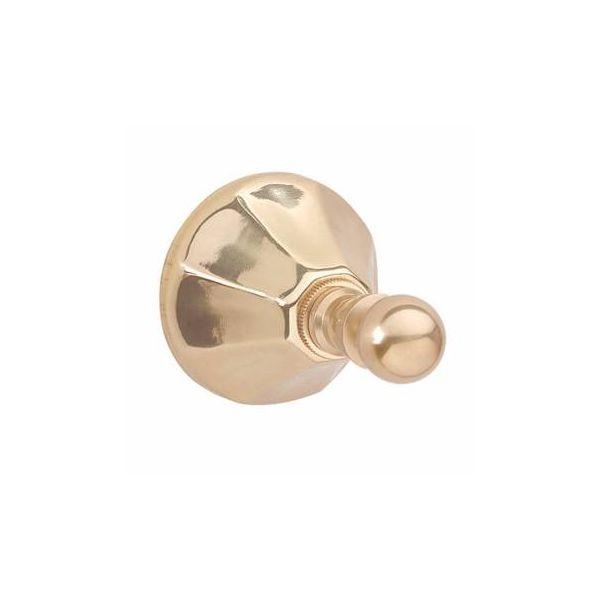 Vintage Solid Brass Robe Hook Octagonal Accent