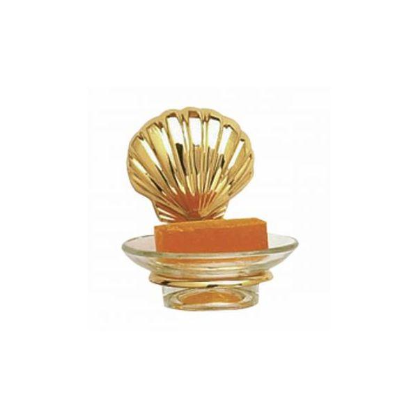 Glass Soap Dish Brass Sea Crest  Holder