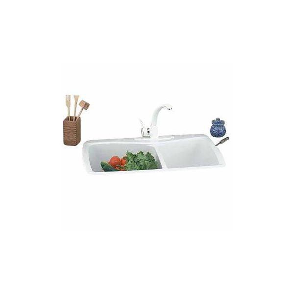 Renovator's Supply White Kitchen Sink Carea Counter Double Sink